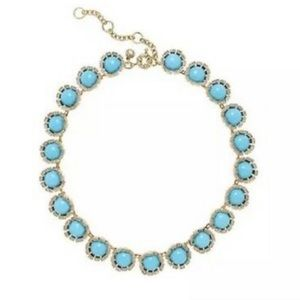 J.Crew Turquoise CZ Flower Statement Necklace